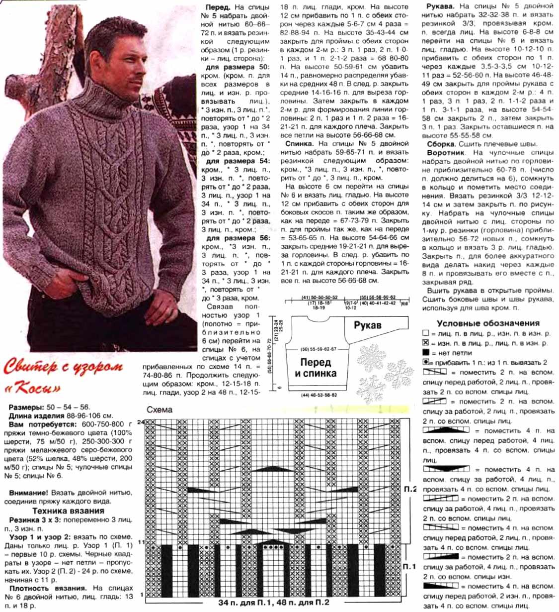 Свитер для мужчин схема вязания спицами