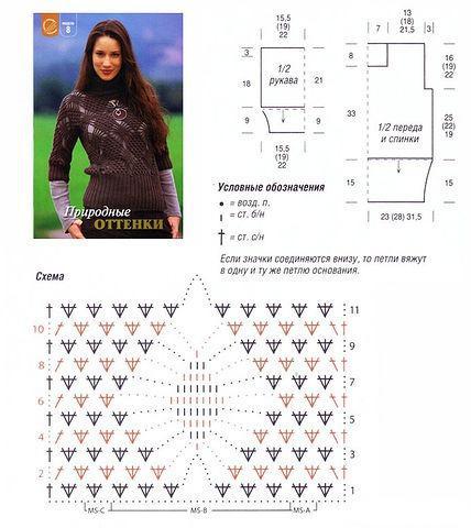 Рисунок для кофты крючком схемы и описание