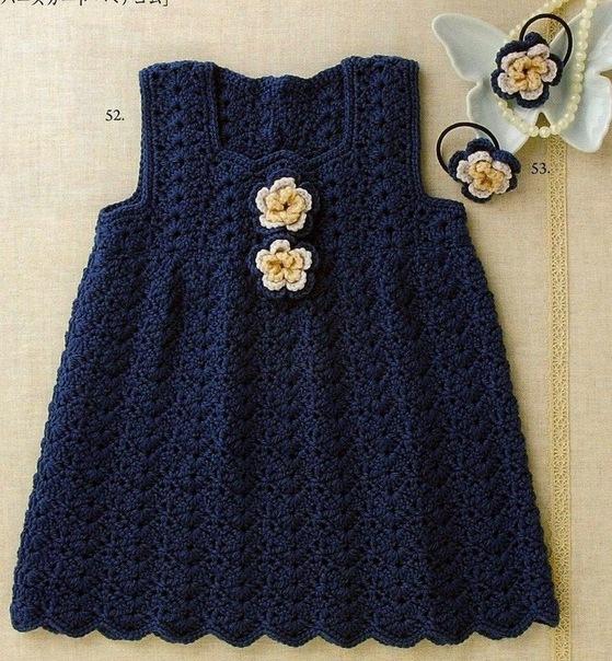 Схемы вязания крючком детских платьев
