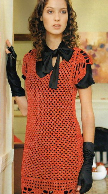 Оранжевое платье-туника. Схема