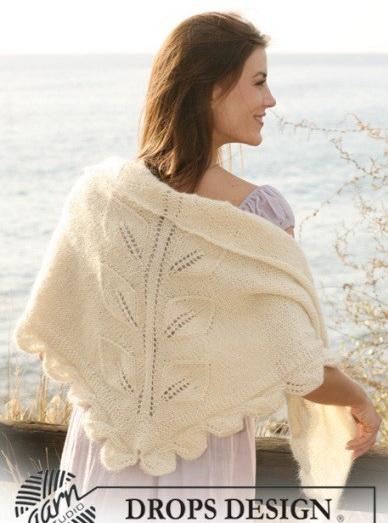 Схема вязания шали спицами.