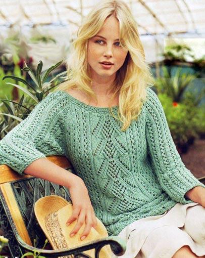 Ажурный пуловер с руковами