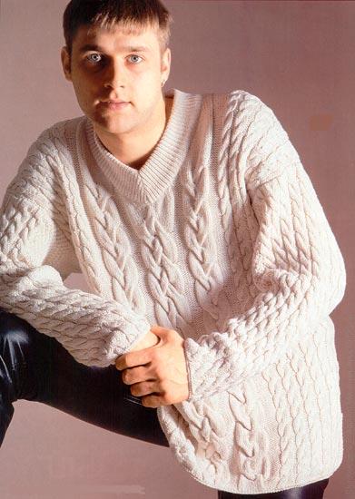 Мужской свитер, вязание