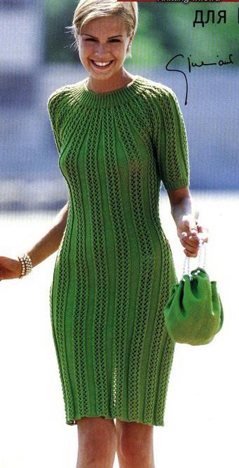 и описания вязания платья