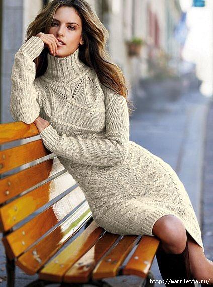 Недное зимнее платье, вязание