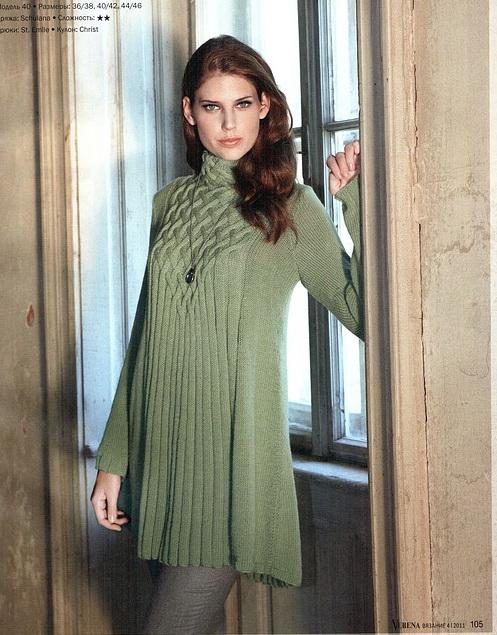 платье туника с узором схема вязания спицами платья туники