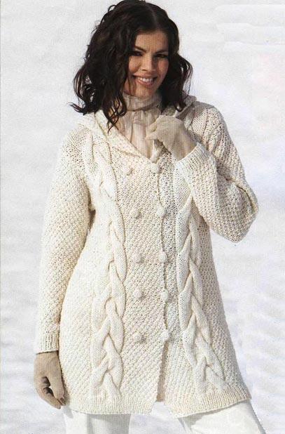 Жакет с капюшоном, вязание