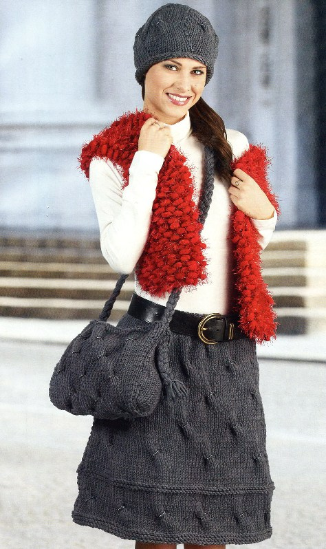 Юбка, шапочка и сумка, вязание